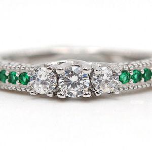 1ct Emerald Quartz+ Topaz Sterling  ring sz 6